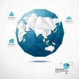Concetto geometrico di infographics dell'illustrazione della mappa di mondo del globo. Immagine Stock