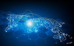 Concetto globale astratto del collegamento della rete di trasporto di comunicazione di progettazione di traffico Fotografia Stock Libera da Diritti