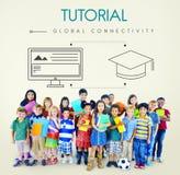 Concetto globale del grafico di connettività di istruzione fotografie stock libere da diritti