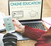 Concetto globale del grafico di connettività di istruzione online fotografia stock