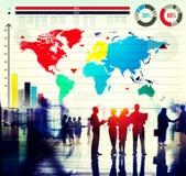 Concetto globale della mappa di mondo di crescita del grafico commerciale Immagini Stock
