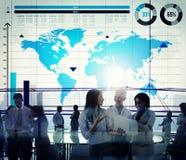 Concetto globale della mappa di mondo di crescita del grafico commerciale Fotografie Stock