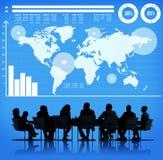 Concetto globale della mappa di mondo di crescita del grafico commerciale Fotografia Stock