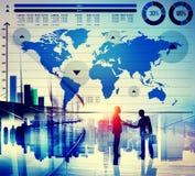 Concetto globale della mappa di mondo di crescita del grafico commerciale Immagine Stock Libera da Diritti