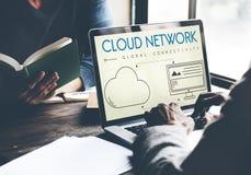 Concetto globale della parte di connettività della rete della nuvola fotografia stock