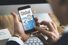 Concetto globale della rete delle icone della parte Immagini Stock Libere da Diritti