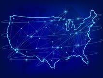 Concetto globale della rete di logistica Mappa di rete di comunicazioni di U.S.A. sui precedenti del mondo Mappa di U.S.A. con i  illustrazione vettoriale