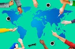 Concetto globale della terra di globalizzazione di cartografia del mondo Immagine Stock Libera da Diritti