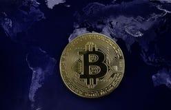 Concetto globale di Bitcoin Fotografia Stock