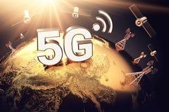 Concetto globale di connettività con la rete di comunicazione e le lettere mondiali 5G Messo a fuoco sopra il territorio della Ci illustrazione di stock