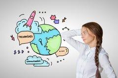 Concetto globale di tecnologie Immagine Stock