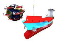 Concetto globale di trasporto della nave da carico Fotografia Stock