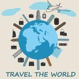 Concetto globale di viaggio - progettazione piana sveglia Giorno di turismo di mondo Immagini Stock