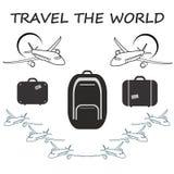 Concetto globale di viaggio - progettazione piana sveglia Giorno di turismo di mondo Fotografie Stock