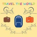 Concetto globale di viaggio - progettazione piana sveglia Giorno di turismo di mondo Immagine Stock