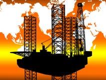 CONCETTO GLOBALE INTERNAZIONALE DELL'INDUSTRIA DEL GAS DEL PETROLIO MARINO Immagini Stock Libere da Diritti