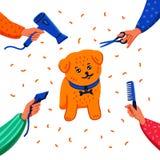 Concetto governare dell'animale domestico Cagnolino e mani felici con il pettine, il fon, le forbici ed il tagliatore di taglio d royalty illustrazione gratis