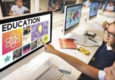 Concetto grafico delle icone di fisica di scienza di istruzione Fotografia Stock