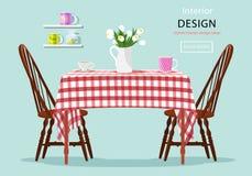 Concetto grafico moderno di vettore del tavolo da pranzo con le sedie, le tazze ed i fiori illustrazione vettoriale