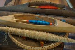 Concetto industriale di arte di tradizione dell'ago fatto a mano di seta della lana Immagini Stock