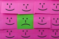 Concetto infelice e felice Fondo delle note appiccicose Fotografia Stock