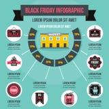 Concetto infographic di Black Friday, stile piano Fotografie Stock Libere da Diritti