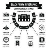 Concetto infographic di Black Friday, stile semplice Immagini Stock Libere da Diritti