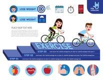 Concetto infographic di salute dell'insegna di progettazione del fumetto di vettore illustrazione di stock