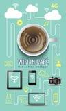 Concetto infographic di wifi della caffetteria con le icone Royalty Illustrazione gratis