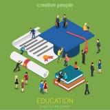 Concetto infographic isometrico di micro web piano 3d della gente di istruzione Fotografia Stock Libera da Diritti