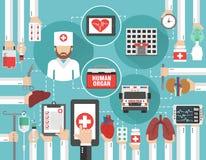 Concetto infographic medico piano con l'organo umano dell'automobile, l'ospedale e medico, chiamata online illustrazione vettoriale
