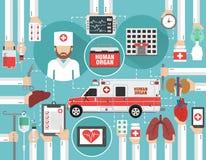 Concetto infographic medico piano con l'organo umano, l'ospedale e medico dell'automobile illustrazione di stock