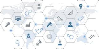 Concetto ingegneria/di fabbricazione: qualità, soddisfazione del cliente, tecnologia, organizzazione, illustrazione di vettore de illustrazione vettoriale