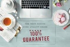 Concetto iniziale di garanzia di esclusiva 100% di marca di alta qualità Fotografia Stock Libera da Diritti
