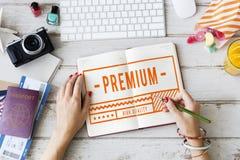Concetto iniziale di garanzia di esclusiva 100% di marca di alta qualità Immagine Stock Libera da Diritti