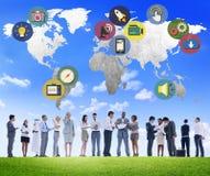 Concetto internazionale del collegamento di media sociali globali di media Immagini Stock Libere da Diritti