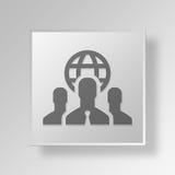concetto internazionale dell'icona del bottone di affari 3D Illustrazione Vettoriale