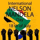 Concetto internazionale di Nelson Mandela Day illustrazione di stock