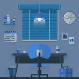 Concetto interno di progettazione piana del posto di lavoro con il calendario, la lampada, l'orologio, i libri e la tazza di caff Fotografia Stock