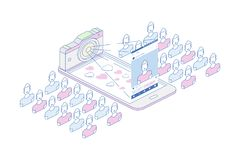 concetto isometrico 3D Linea macchina fotografica dello Smart Phone e della foto di arte con il profilo sociale del sociale e di  Fotografia Stock Libera da Diritti