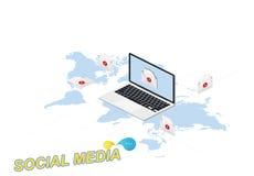 concetto isometrico 3D Nuova icona di notifica del messaggio in computer portatile contro lo sfondo della mappa di mondo Illustra Immagine Stock