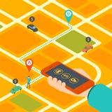 Concetto isometrico del cellulare app per il taxi di prenotazione royalty illustrazione gratis