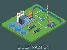 Concetto isometrico del ciclo di produzione di petrolio Immagini Stock