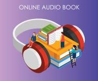 Concetto isometrico del materiale illustrativo di audio libro in cui la gente può ascoltare libri dal loro telefono illustrazione di stock