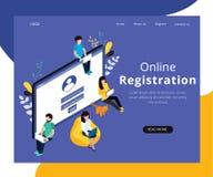 Concetto isometrico del materiale illustrativo di registrazione online del cliente royalty illustrazione gratis