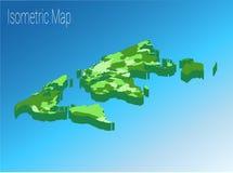 Concetto isometrico del mondo della mappa illustrazione piana 3d Fotografia Stock Libera da Diritti