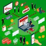 concetto isometrico dell'illustrazione 3D del commercio elettronico, deposito online Fotografia Stock Libera da Diritti