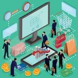 concetto isometrico dell'illustrazione 3D del commercio elettronico, deposito online Immagine Stock Libera da Diritti