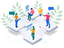 Concetto isometrico dell'insegna di web di strategia di marketing di Digital Nuvola di dati di analisi e pagina di atterraggio di illustrazione di stock