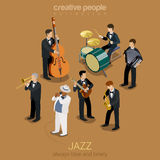 Concetto isometrico della banda di musica di jazz Immagini Stock
